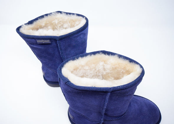 Minnetonka Moccasin Suede Navy Blue Olympia Fur Lined Calf Hi Women's Boot