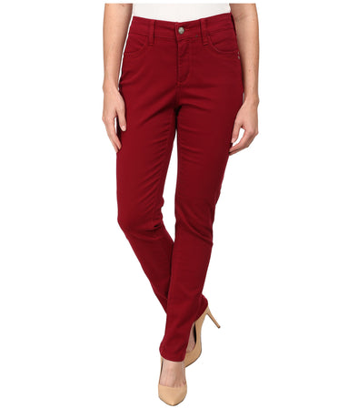 NYDJ Not Your Daughters Jeans CLARET RED Samantha SLIM FIT $130 Women's Petite Pants