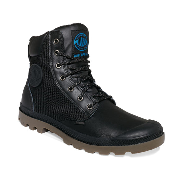 PALLADIUM Pampa Sport Cuff WP2 Women's Leather/Mesh Combat Hiking Boots in Black/Dark Gum