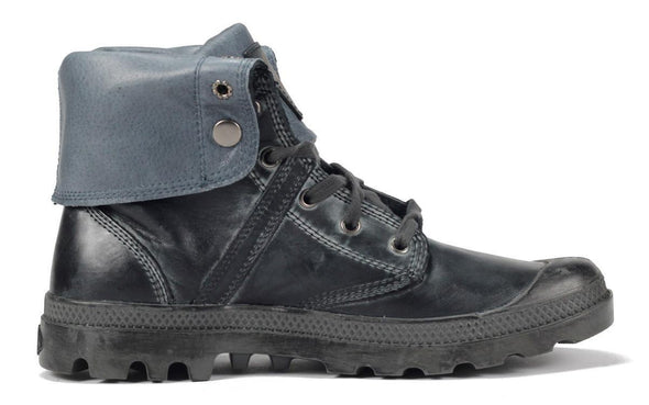 PALLADIUM Pallabrouse Baggy L2 Women's Leather Fold Over Lace Up Combat Hiking Boots in Gray/Black