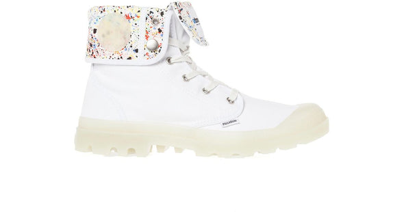 PALLADIUM Baggy White/Splatter Print/Glow Men's Lace Up Fold Over Combat Hiking Boots