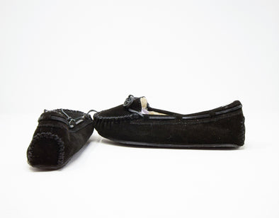 Minnetonka Black Suede Faux Fur Lined Cally Moccasin Slippers #4010