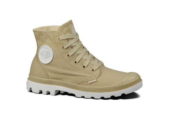 PALLADIUM Blanc Hi Unisex Safari/White Canvas High Top Sneakers Ankle Boots