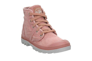 PALLADIUM Pallabrouse Women's Lace Up Canvas High Top Sneaker Ankle Boots in Old Rose/Vapor