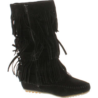 SHOES OF SOUL L3228 Black Fringed Winter Moccasin Boots Women's Size 9