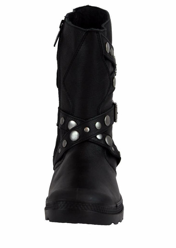 Palladium Polegate Leather Women's Black Mid-Calf Decorative Motorcycle Boots