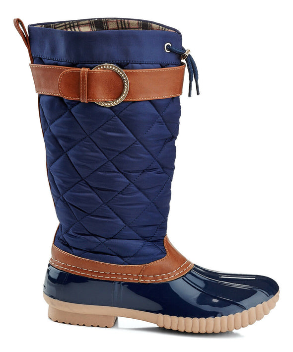Charming NAVY with COGNAC Puffer MID-CALF BOOTS Women's Size 8.5
