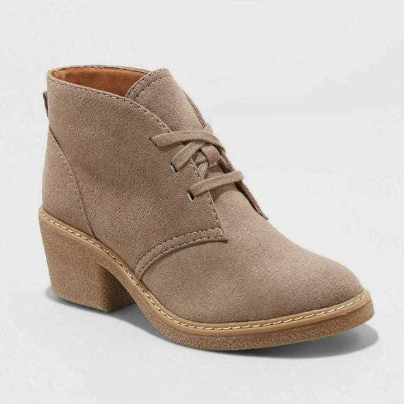 UNIVERSAL THREAD Lucia Microsuede Chunky Heel Booties in Taupe WOMEN'S Size 7.5