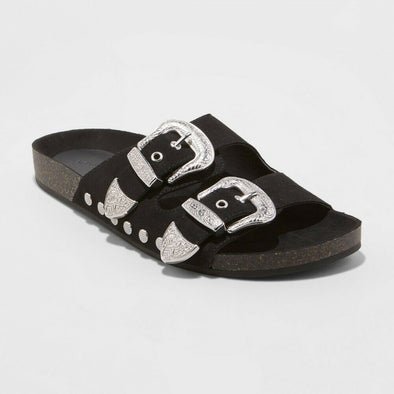 UNIVERSAL THREAD Western Buckle Black Bari Slide Sandals Women's Size 6.5