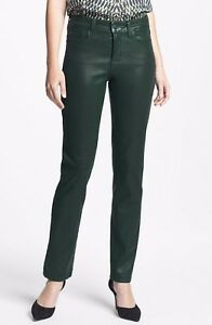 NYDJ Not Your Daughters Jeans Coated ALPINE DARK GREEN $130 SKINNY