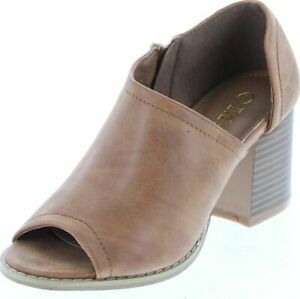 MATA Brown Peep Toe Ankle Booties w/ Side Slit Women's Size 6
