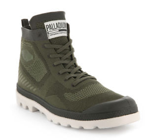 PALLADIUM Pampa Hi Lite Knit Burnt Olive/Moonbeam Unisex Mesh Lace Up Hi Top Sneaker Boots