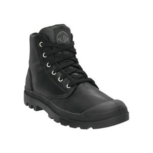 PALLADIUM Pampa Hi Leather Women's Lace Up Ankle Combat Hiking Boots in Black