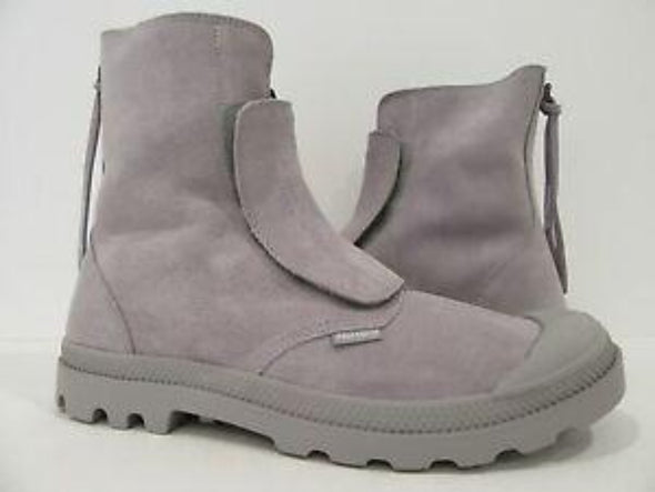 PALLADIUM Pampa Hi Sopopular Suede Ash/White Men's Zip Up Ankle Boots