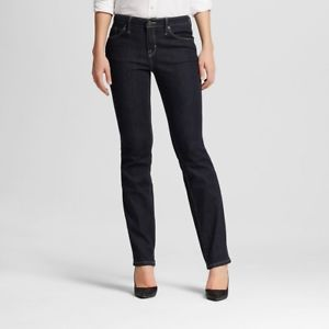 MOSSIMO Women's Mid Rise Curvy Straight Black Super Stretch Denim Jeans