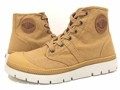Palladium Pallabrique High LC Men's Canvas High Top Sneakers Boots in Moutarde/Cognac
