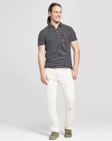 Goodfellow & Co Men's All-Season Comfort Straight Asher Off White Distressed Denim Jeans