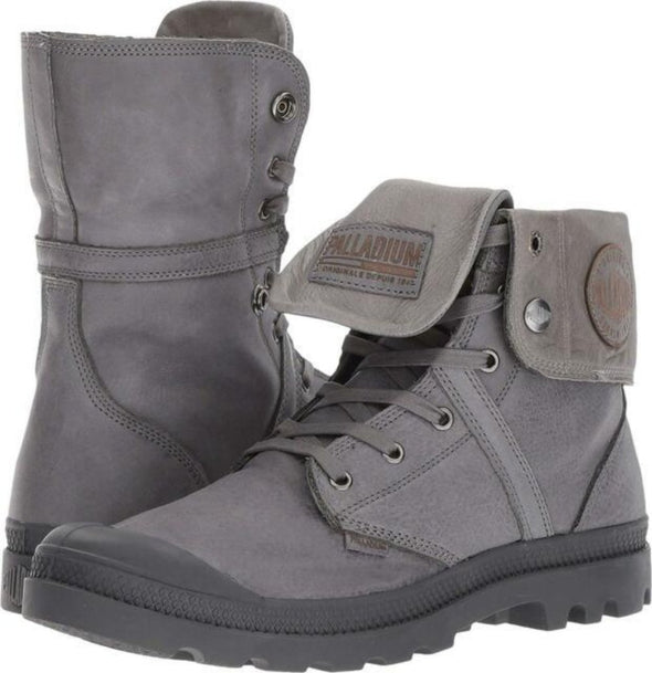 PALLADIUM Pallabrouse Baggy L2 Women's Foldover Gray/Black Lace Up Boots