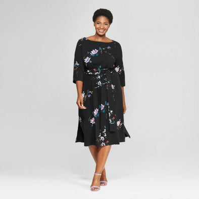 AVA & VIV 1/2 Sleeve Black Floral Print Dress Women's Plus Size 4X