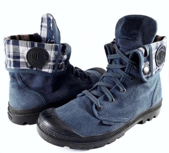 PALLADIUM Baggy Indigo/Black Women's Lace Up Fold Down Combat Hiking Boots