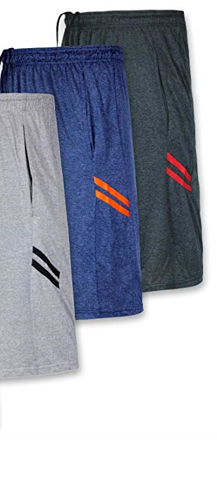 REAL ESSENTIALS 3 Pack Dry-Fit Sweat Resistant Men's Active Athletic Performance Shorts