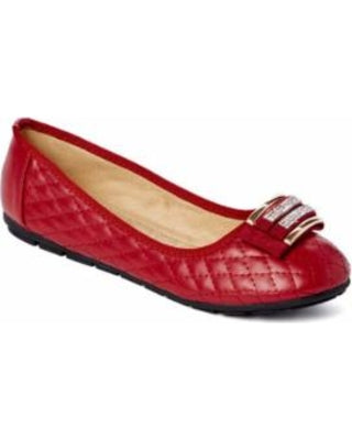 VICTORIA K Red Quilted Ballet Flats with Diamond Rhinestones Women's Size 8