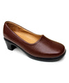 KECOM Women's Chunky Heel Brown Faux Leather Pumps