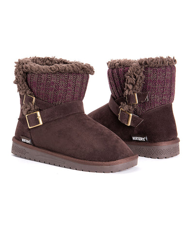 MUK LUKS Alyx Knit Double Buckle Sherpa Lined Brown Ankle Bootie Women's Size 10