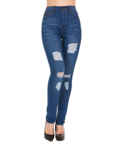 Red Jeans NYC Women's Distressed HIGH RISE Skinny Denim Blue Jeans Plus Size