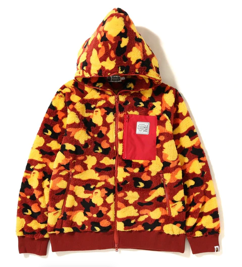 BAPE 1st Camo Boa Wide Full Zip Hoodie Orange