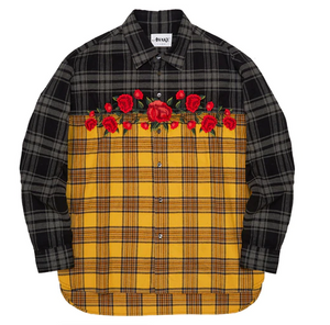 Awake Embroidered Rose Flannel Shirt Yellow