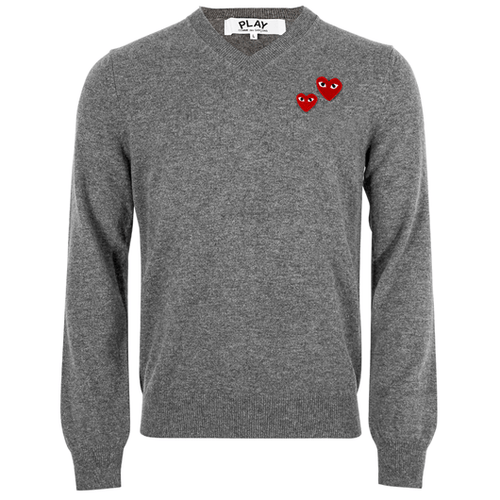 Comme des Garçons PLAY Collection N070 Double Heart V-Neck Jumper