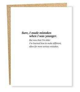 serious mistakes card