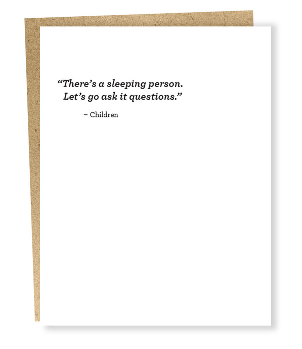 sleeping person card