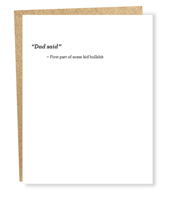 dad said card