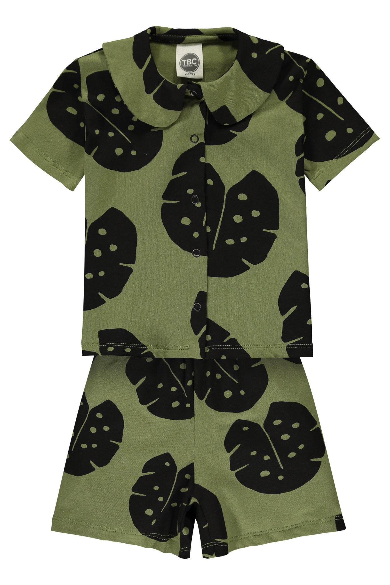 SHORT BUTTON DOWN PJ - MONSTERA SAGE