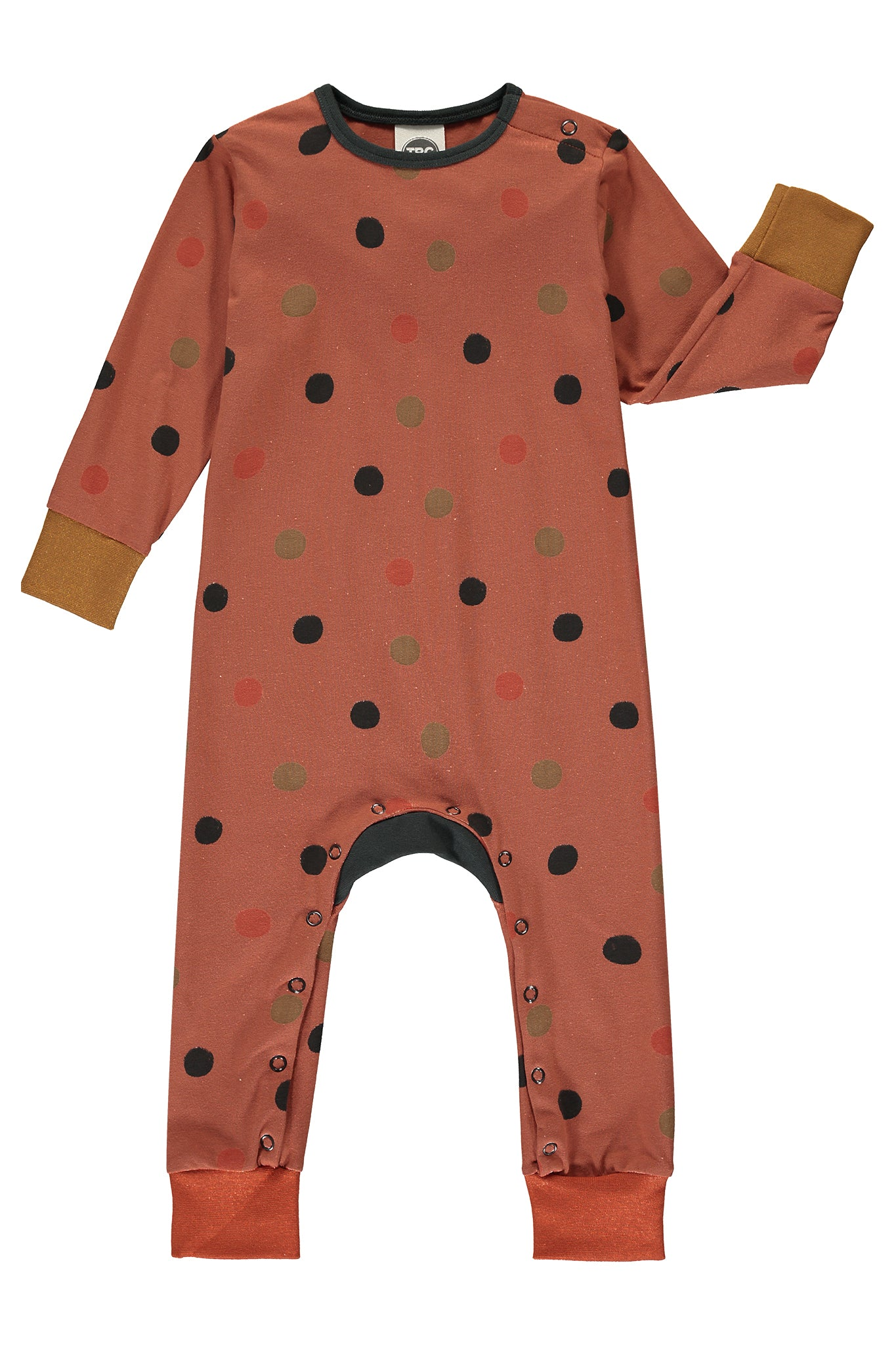 MONTY SLEEPSUIT - MULTI POLKA DOT - RUST