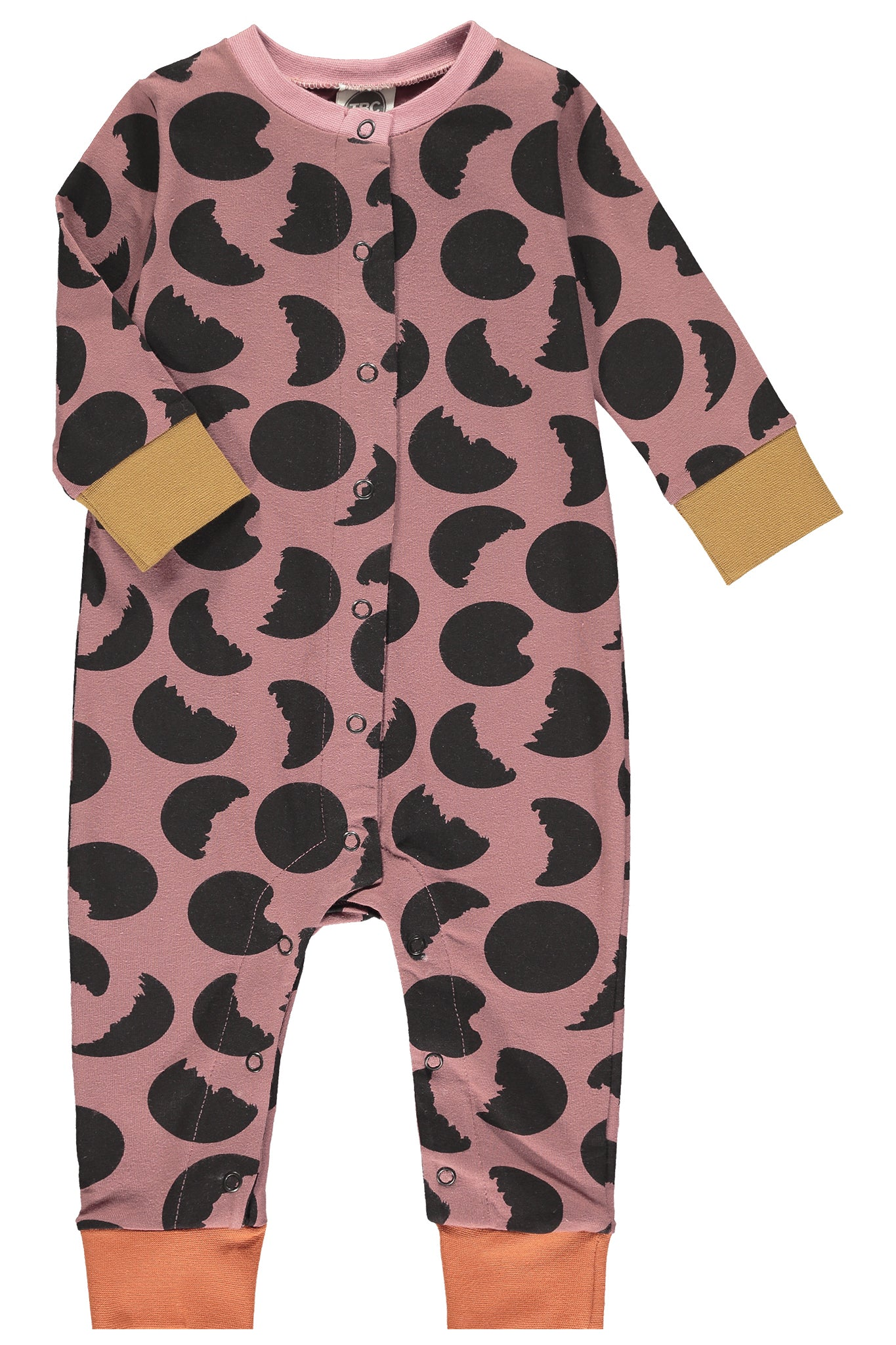 BUTTON DOWN FRONT SLEEPSUIT - MOON PRINT- APPLE BUTTER