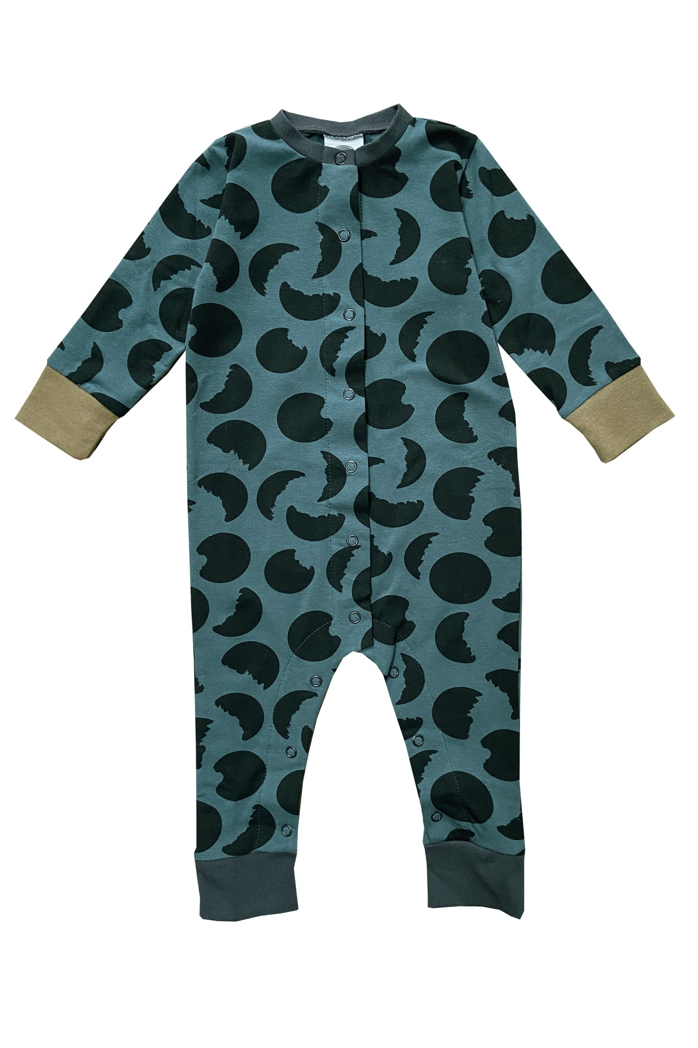 BUTTON DOWN FRONT SLEEPSUIT - MOON PRINT- PINE