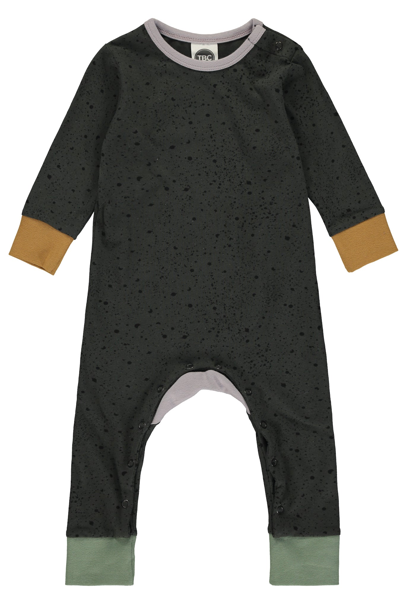MONTY SLEEPSUIT - PAINT SPLAT PEAT - The Bright Company
