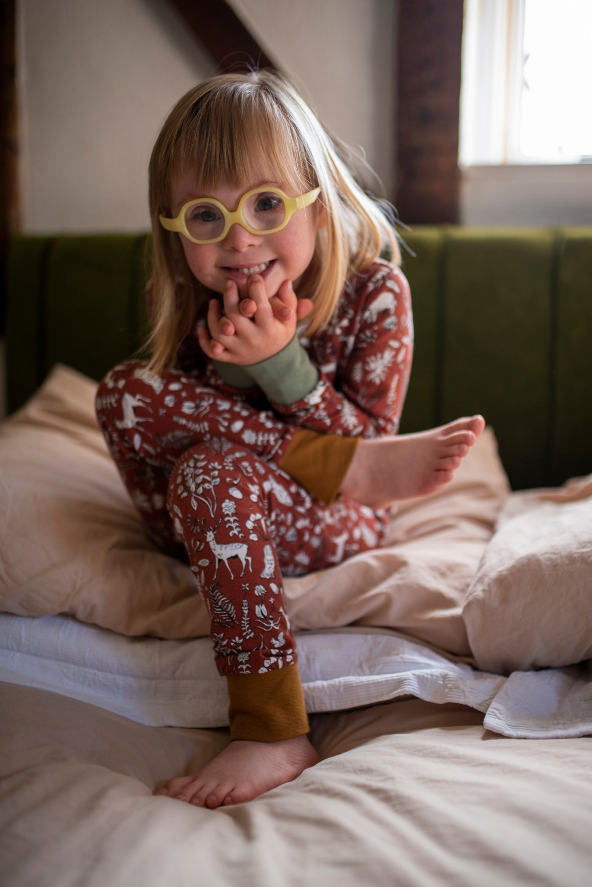 SLIM JYMS PYJAMAS - DITSY WOODLAND AUBURN - The Bright Company