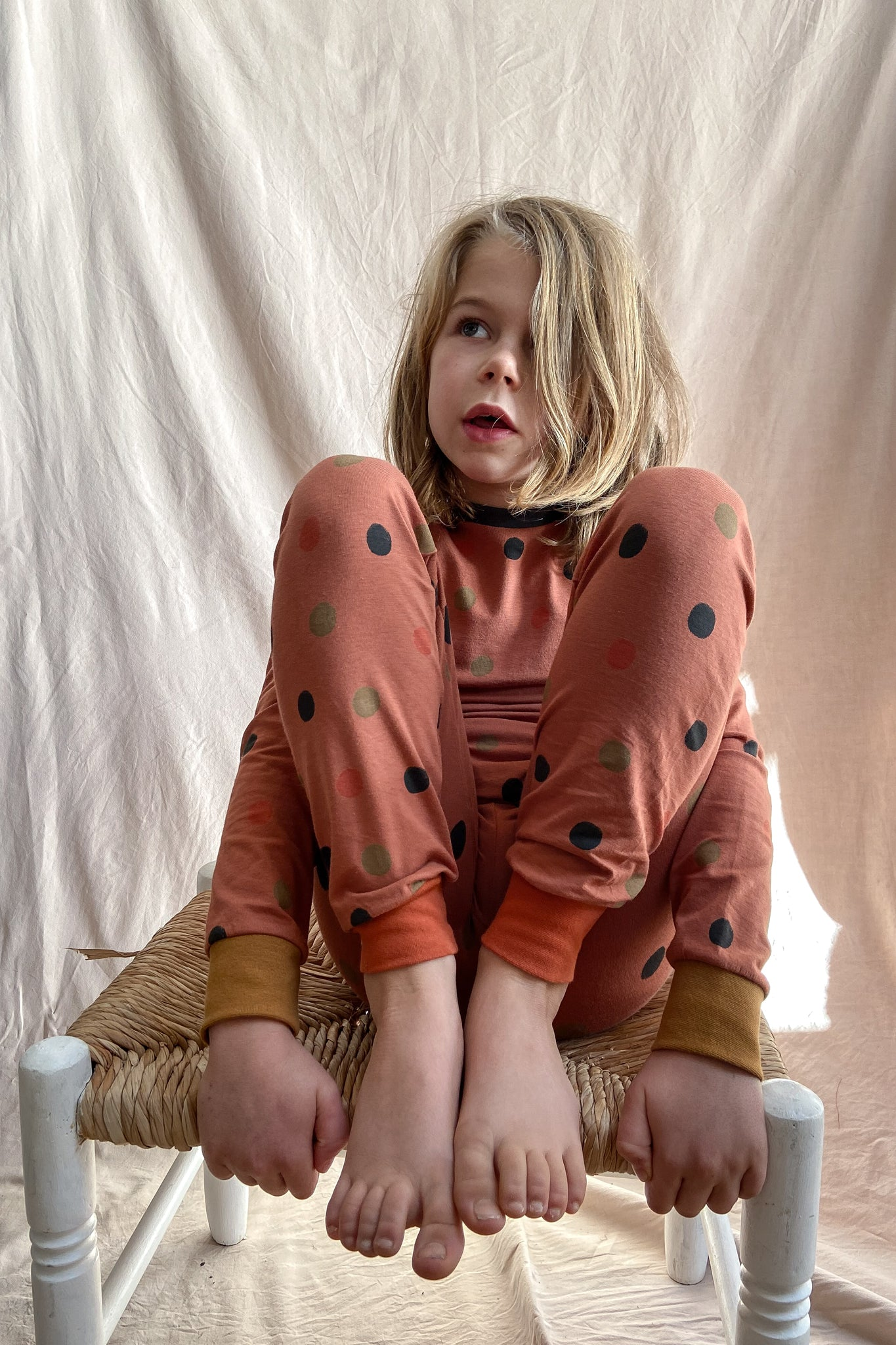 SLIM JYMS PYJAMAS - MULTI POLKA DOT - RUST