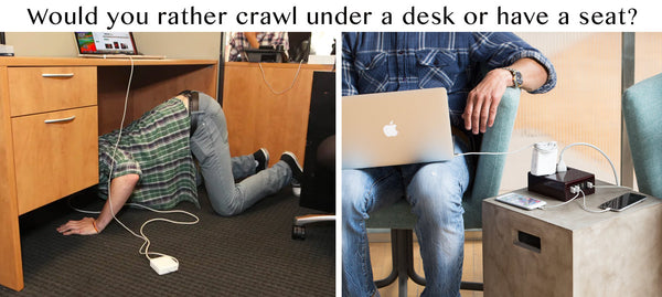 Would you rather crawl under a desk to plug computer in, or have a desktop plug?