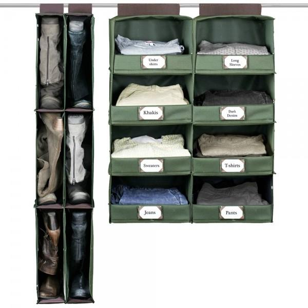Hanging BOot organizer and 4 shelf organizer with label holder.