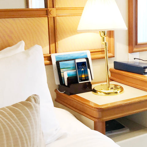 compact charging station for iphone and ipad and tablets on nightstand with built-in USB ports in beautiful Cherry wood