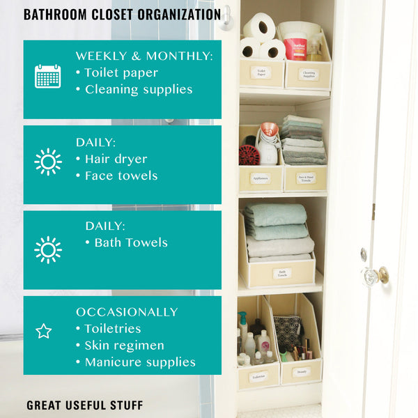 Bathroom closet organization weekly and monthly toilet paper and cleaning supplies, daily hair dryer and towels, occasionaly