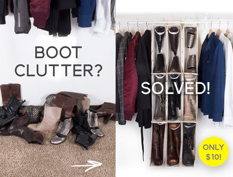 boot closet organizer before & after