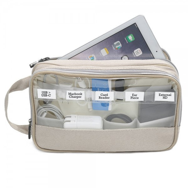 Cord pouch with 22 elastic bands and two zippers and clear viewing windows labelled
