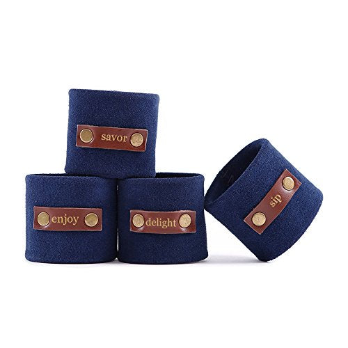 Leather & Suede Napkin Rings - Set of 4