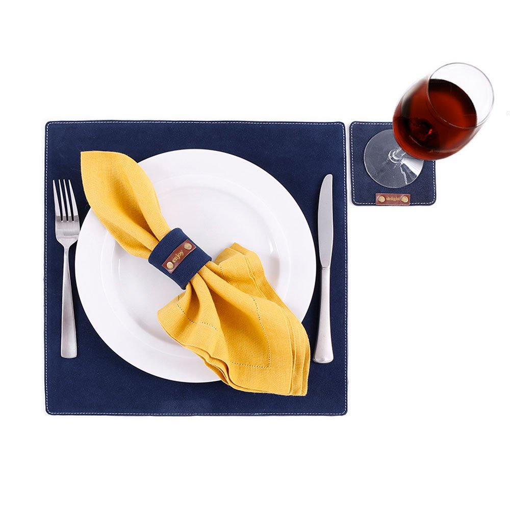 "Suede Leather Placemats 14"" x 14"""